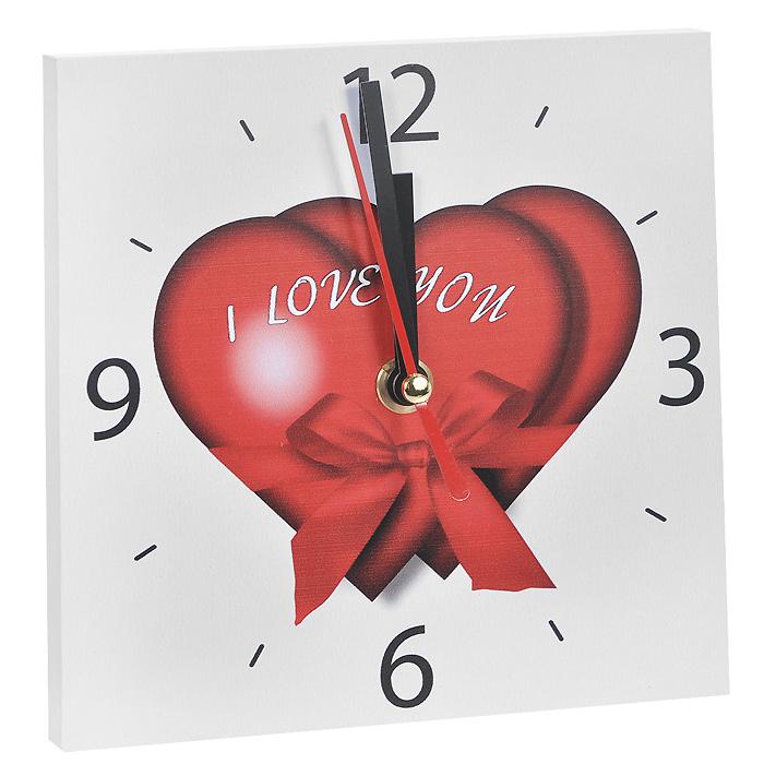 """Часы настенные Любовь. 9583895838Настенные кварцевые часы Любовь изготовлены из МДФ. Корпус часов квадратной формы декорирован изображением двух сердец и надписью """"I love you"""". Циферблат с отметками и арабскими цифрами имеет три стрелки - часовую, минутную и секундную. С задней стороны - ножка для размещения на столе и металлическая петля для подвешивания на стену. Часы необычного дизайна великолепно оформят интерьер."""