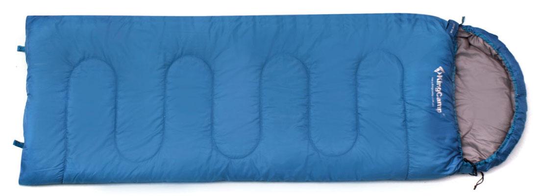 Спальный мешок-одеяло KingCamp Oasis 250 KS3121, левосторонняя молния, цвет: синий спальный мешок одеяло kingcamp oasis 300 ks3151 правосторонняя молния цвет зеленый