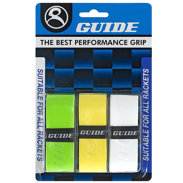 Обмотка для ракетки Guide Replacement Grip, цвет: зеленый, желтый, белый, 3 шт00105Обмотка Guide имеет среднюю толщину, отлично впитывает влагу, а также наделена противоскользящим свойством. Она не уступает по качеству продукции компании Yonex, опережая по показателям другие мировые бренды.