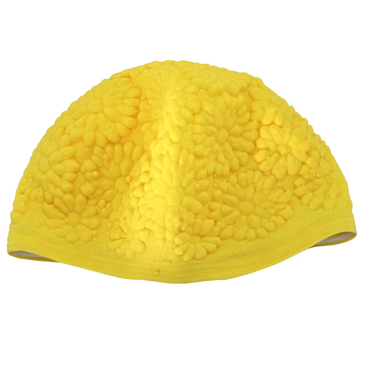 Шапочка для плавания MadWave Hawaii Chrysanthemum, женская, цвет: желтыйM0517 01 0 06WЛатексная шапочка для плавания MadWave Hawaii Chrysanthemum декорирована цветочным рельефом. Имеет превосходную эластичность и высокий уровень комфорта. Высококачественный материал обеспечивает долгий срок службы. Пузырьковая поверхность уменьшает площадь соприкосновения с волосами. Обхват головы: 53 см.