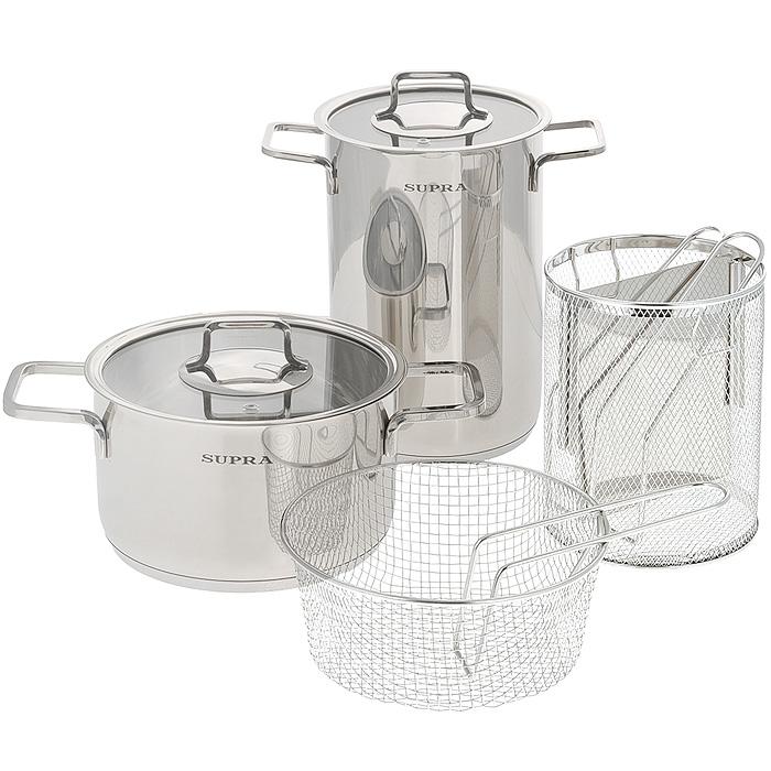Набор посуды Supra Enkatsu, 6 предметов. SES-0669KitSES-0669KitНабор посуды Supra Enkatsu состоит из двух кастрюль с крышками и двух корзин для варки спагетти и овощей. Предметы набора изготовлены из высококачественной нержавеющей стали с зеркальной полировкой и оснащены надежными не нагревающимися ручками. Плоские крышки, изготовленные из термостойкого стекла, оснащены отверстием для выхода пара и стальным ободом. Такие крышки позволяют следить за процессом приготовления пищи без потери тепла. С отметками литража на внутренней стенке одной из кастрюль вы легко сможете соблюдать пропорции рецептуры без применения дополнительных предметов. Капсулированное индукционное дно позволяет использовать посуду на всех типах плит, включая индукционные плиты. Можно мыть в посудомоечной машине. Набор посуды Supra Enkatsu - это идеальный подарок для современных хозяек, которые следят за своим здоровьем и здоровьем своей семьи. Эргономичный дизайн и функциональность позволят вам наслаждаться процессом приготовления...