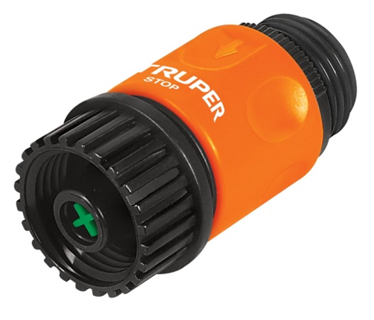 Коннектор для шланга Truper, быстрозащелкивающийся, аквастоп, 3/4CLICK-ACCШланговый коннектор Truper, выполненный из пластика, предназначен для быстрого и многократного присоединения и отсоединения шланга к насадкам или крану. Оснащен удобной муфтой для лучшего соединений. Аквастоп для безопасного разъединения насадок и шланга.