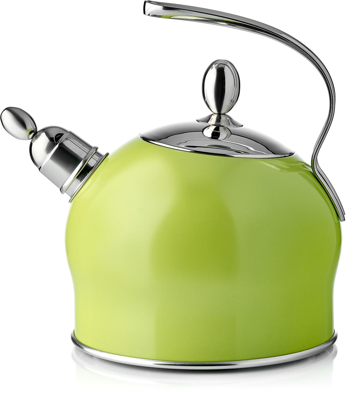 Чайник Esprado Ritade, со свистком, цвет: зеленый, 2,5 лCM000001328Чайник Esprado Ritade изготовлен из специальной высококачественной нержавеющей пищевой стали Steelagen, разработанной датскими специалистами марки Esprado. Благодаря отличным антикоррозионным свойствам Steelagen устойчива к воздействию соленой и кислой сред. Сталь прочна и долговечна, а также безопасна для здоровья человека и окружающей среды. Внешние стенки чайника покрыты цветной жаростойкой эмалью, выдерживающей нагрев до 220°С. Трехслойное капсулированное дно (нержавеющая сталь, алюминий, магнитная сталь) обеспечивает равномерный нагрев посуды и постепенное остывание (эффект томления). Чайник оснащен удобной стальной ручкой. Носик чайника имеет насадку-свисток, что позволит вам контролировать процесс подогрева или кипячения воды.Подходит для использования на всех видах плит, включая индукционные.В Испании распространен горшочек-яблоко, в котором готовят традиционный испанский томатный суп, - считается, что в посуде именно такой формы тушеные блюда и супы густой консистенции получаются просто идеальными.Торговая марка Esprado представляет аналог этой известной посуды - коллекцию Ritade, произведенную с использованием современных высококачественных материалов и покрытий. Коллекция отличается современным дизайном, и благодаря округлой форме и насыщенному цвету выглядит очень привлекательно.