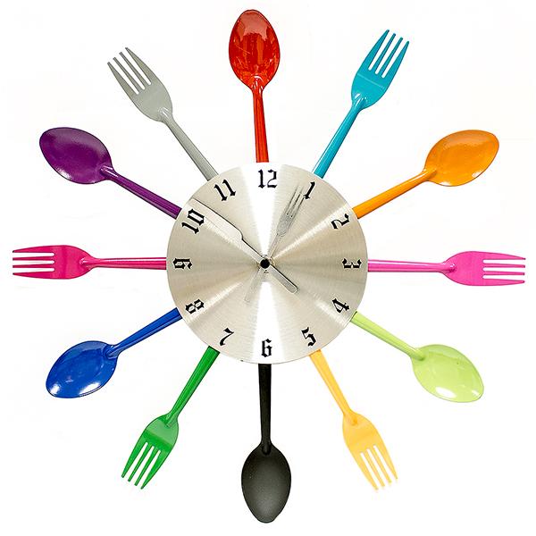 Часы настенные Вилки-ложки, цвет: мульти. 95205300194_сиреневый/грушаЧасы Ложки и вилки настенные цветные ЭВРИКА / 95205 размер часов в собранном виде: 39х3 см