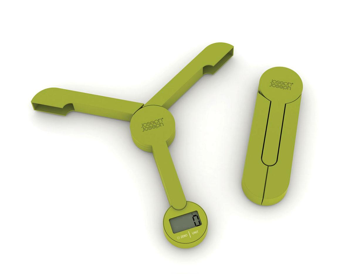 Весы кухонные Joseph Joseph TriScale, складные, цвет: зеленый, до 5 кг40072Кухонные весы Joseph Joseph TriScale позволят вам взвесить с точностью до грамма продукты весом до 5 кг. Корпус весов выполнен из прочного пластика, снабжен 3 сенсорами. Весы оснащены прямоугольным электронным дисплеем. Основание весов имеет три устойчивые ножки с нескользящим покрытием. На корпусе расположены две сенсорные кнопки управления: кнопка включения/отключения и кнопка выбора единицы измерения Unit. Измерять можно как сыпучие продукты, так и жидкости. В весах предусмотрено 5 единиц измерения - граммы (g), миллилитры (ml), фунты (lb), унции (oz), жидкие унции (fl.oz). Если вы не используете весы более 5 минут, они отключатся автоматически. Имеется функция довеса. Весы складные (в сложенном виде занимают минимум места), это поможет сэкономить пространство на кухне. С помощью таких цифровых весов можно точно контролировать пропорции ингредиентов. Кухонные весы Joseph Joseph TriScale придутся по душе каждой хозяйке и станут незаменимым аксессуаром на кухне.