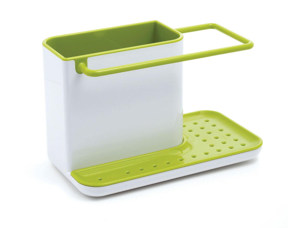 Органайзер для раковины Joseph Joseph Caddy, цвет: белый, зеленыйVT-1520(SR)Органайзер для раковины Joseph Joseph Caddy изготовлен из прочного пластика. Это своеобразный органайзер для кухонных принадлежностей, таких как ершик для посуды, жидкость для мытья посуды, губка и тряпка. Для каждого предмета выделен отдельный отсек. Изделие имеет поддон для стока жидкости. На дне расположены резиновые ножки для большей устойчивости. Можно мыть в посудомоечной машине.