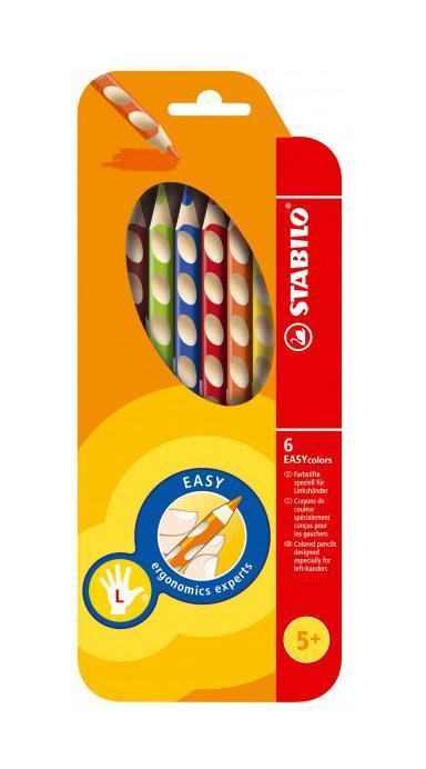 Набор цветных карандашей Stabilo Easycolors для левшей, 6 цветов72523WDПреимущества карандашей STABILO EASYcolors. Специальные углубления на корпусе карандаша подсказывают ребенку как располагать большой и указательный пальцы, прививая первоначальный навык правильно держать пишущий инструмент. Расположение углубление по всей длине корпуса обеспечивает правильное удержание карандаша ребенком при письме и рисовании даже после заточки карандаша. С течением времени навык автоматически закрепляется в памяти ребенка, позволяя ему быстрее и легче адаптироваться к процессу обучения письму, освоить правильную технику письма и сделать письмо красивым и быстрым.Создают максимальный комфорт для ребенка - трехгранная форма карандаша соответствует естественному захвату руки, уменьшая мышечные усилия, необходимые для его удержания, - ребенок может рисовать длительное время без ощущения усталости. Утолщенная форма корпуса облегчает удержание карандашей детьми с недостаточно развитой мелкой моторикой руки. Карандаши разработаны с учетом особенностей строения руки ребенка и имеют две версии: для правшей и для левшей, обеспечивая им одинаково комфортное письмо. Рекомендуются в начале обучения рисованию и письму.Мягкий грифель легко рисует на бумаге, не царапая ее и не крошась, и оставляет яркий след без каких-либо усилий Утолщенный грифель диаметром 4,5 мм не нуждается в постоянном затачивании, так как имеет повышенную стойкость к поломкам. 6 ярких насыщенных цветов, карандаши можно подписать.Карандаши являются обладателями Европейского сертификата качества (маркировка на корпусе СЕ), что подтверждает их высочайшее качество и безопасность для здоровья.