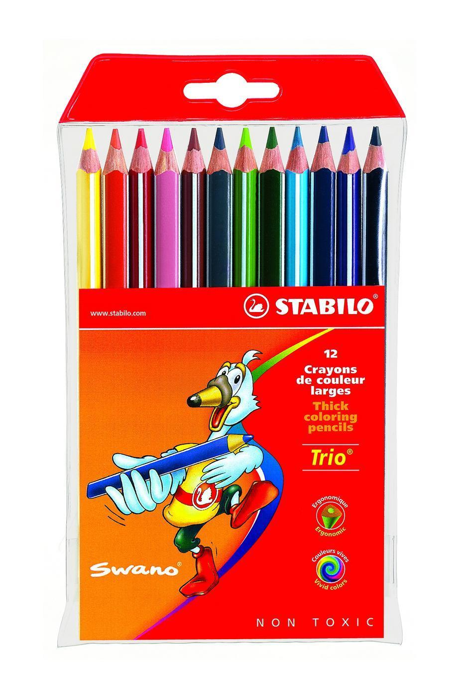 Набор цветных карандашей Stabilo Trio, 12 цветовPP-304Серия утолщенных трехгранных цветных карандашей Stabilo Trio. Трехгранная форма карандаша предотвращает усталость детской руки при рисовании и позволяет привить ребенку навык правильно держать пишущий инструмент. Подходят для правшей и для левшей. Утолщенный грифель, особо устойчивый к поломкам. В состав грифелей входит пчелиный воск, благодаря чему карандаши легко рисуют на бумаге, не царапая ее и не крошась.