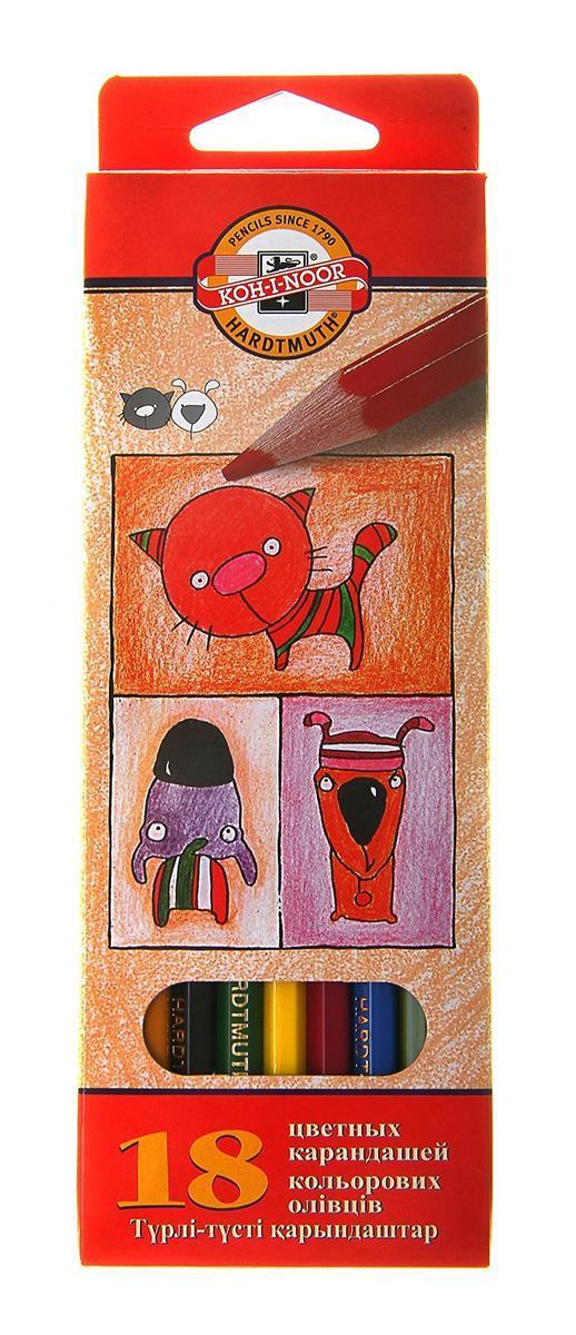 "Koh-i-Noor Цветные карандаши ""Собаки и Кошки"", 18 цветов 3593/18 5 KS"
