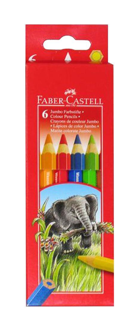 Цветные карандаши JUMBO, набор цветов, в картонной коробке, 6 шт.610842Цветные карандаши JUMBO c толстым корпусом шестигранной формы, яркие, насыщенные цвета, , специальное место для имени, отстирываются с большинства обычных тканей, качественная мягкая древесина для хорошего затачивания, специальная SV технология вклеивания грифеля предотвращает его поломку при падении на пол, покрыты лаком на водной основе для защиты окружающей среды Вид карандаша: цветной.Материал: дерево.