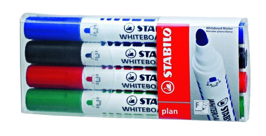 Набор маркеров Stabilo Plan 641, 4 штFS-00897STABILO plan 641.Заправляемый маркер для белых досок с круглым наконечником. Надписи легко и без следов удаляются сухой салфеткой или специальной губкой. Идеально подходит для письма на флипчартах и бумаге. Чернила без запаха. Толщина линии 2,5-3,5 мм. Набор маркеров для досок STABILO plan 641 в пластиковом футляре. Четыре цвета: синий, черный, красный, зеленый.