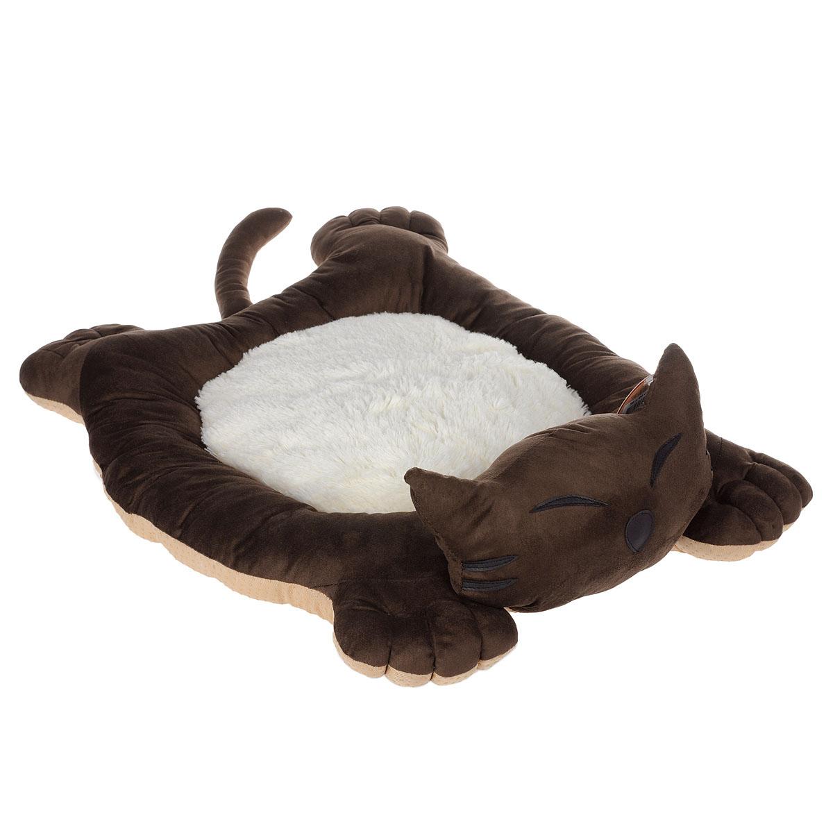 Лежак для собак и кошек I.P.T.S. Sylvester, цвет: коричневый, белый, 56 см х 44 см х 14,5 см19208Мягкий и уютный лежак для кошек и собак I.P.T.S. Sylvester обязательно понравится вашему питомцу. Лежак выполнен в виде кота. Он изготовлен из нежного, приятного материала. Внутри - мягкий наполнитель, который не теряет своей формы долгое время. Мягкий, приятный и теплый лежак обеспечит вашему любимцу уют и комфорт. Подходит как для кошек, так и для маленьких, карликовых пород собак. За изделием легко ухаживать, можно стирать вручную или в стиральной машине при температуре 30°С. Материал бортиков: искусственная замша. Материал матрасика: плюш. Наполнитель: полифибер. Товар сертифицирован.