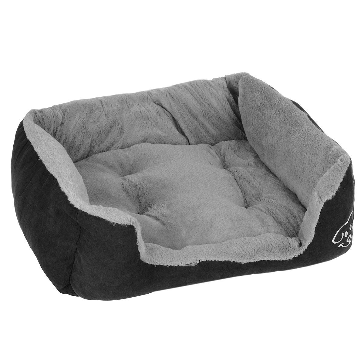 Лежак для собак I.P.T.S. Doomba, 55 см х 50 см х 20 см0120710Лежак I.P.T.S. Doomba станет излюбленным местом отдыха вашего четвероногого друга. Даже самому своенравному питомцу понравится этот уютный мягкий уголок для сна. Лежак имеет форму диванчика с мягкими бортиками и выполнен в приятных черно-серых оттенках. Сочетание этих нейтральных цветов впишется в интерьер, и изделие будет одинаково хорошо смотреться как в гостиной, так и в другой комнате.Товар сертифицирован.