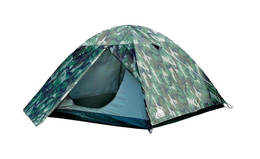 Палатка трехместная TREK PLANET Alaska 3, цвет: камуфляжGESS-725Отличная двухслойная камуфляжная трехместная палатка с тамбуром Trek Planet Alaska 3 - один из лучших вариантов для любителей туризма, рыбалки или охоты. Ее основное преимущество - двуслойная конструкция, не позволяющая конденсату оседать на стенках спального помещения. Кроме этого, в наличии небольшой удобный тамбур, а благодаря камуфляжной расцветке - палатка не привлекает лишнего внимания на природе. Особенности модели:Размер: 190 см х (210+70) см х 120 см;Палатка легко и быстро устанавливается;Тент палатки из полиэстера, с пропиткой PU водостойкостью 2000мм, надежно защитит от дождя и ветра;Все швы проклеены;Внутренняя палатка, выполненная из дышащего полиэстера, обеспечивает вентиляцию помещения и позволяет конденсату испаряться, не проникая внутрь палатки;Москитная сетка на входе в спальное отделение в полный размер двери;Вентиляционный клапан;Каркас выполнен из прочного стеклопластика;Дно изготовлено из прочного армированного полиэтилена;Внутренние карманы для мелочей;Возможность подвески фонаря в палатке. Для большего комфорта прилагается чехол для хранения с удобной ручкой.
