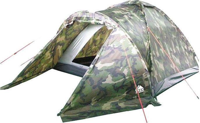 Палатка трехместная TREK PLANET Forester 3, цвет: камуфляж70136Однослойная камуфляжная трехместная палатка Trek Planet Forester 3 станет необходимым атрибутом похода, рыбалки или охоты. Благодаря камуфляжной расцветке, не привлекает лишнего внимания на природе. Большое преимущество этой палатки в том, что в ней есть удобный тамбур, куда можно убрать вещи и обувь. Особенности модели: Размер спальной комнаты: 210 см х 190 см х 120 см; Палатка легко и быстро устанавливается; Палатка оснащена вместительным и защищенным от непогоды тамбуром; Тент палатки из полиэстера, с пропиткой PU водостойкостью 1000 мм, надежно защитит от дождя и ветра; Все швы проклеены; Каркас выполнен из прочного стекловолокна; Дно изготовлено из прочного армированного полиэтилена; Вентиляционное окно сверху палатки не дает скапливаться конденсату на стенках палатки; Москитная сетка на входе в спальное отделение в полный размер двери; Внутренние карманы для мелочей; Возможность подвески фонаря в палатке. ...