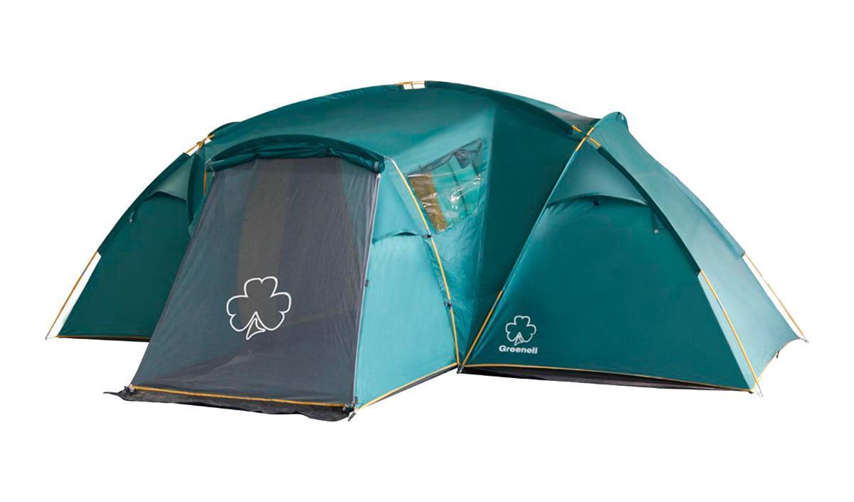 Палатка Greenell Виржиния 6 плюс Greena026124Комфортная кемпинговая палатка с двумя комнатамии увеличенным тамбуром Два спальных отделения. Просторный тамбур с двумя входами. Эффективная система вен- тиляции. Возможна отдельная установка тента. Цвет: Зеленый. Сезон: лето.
