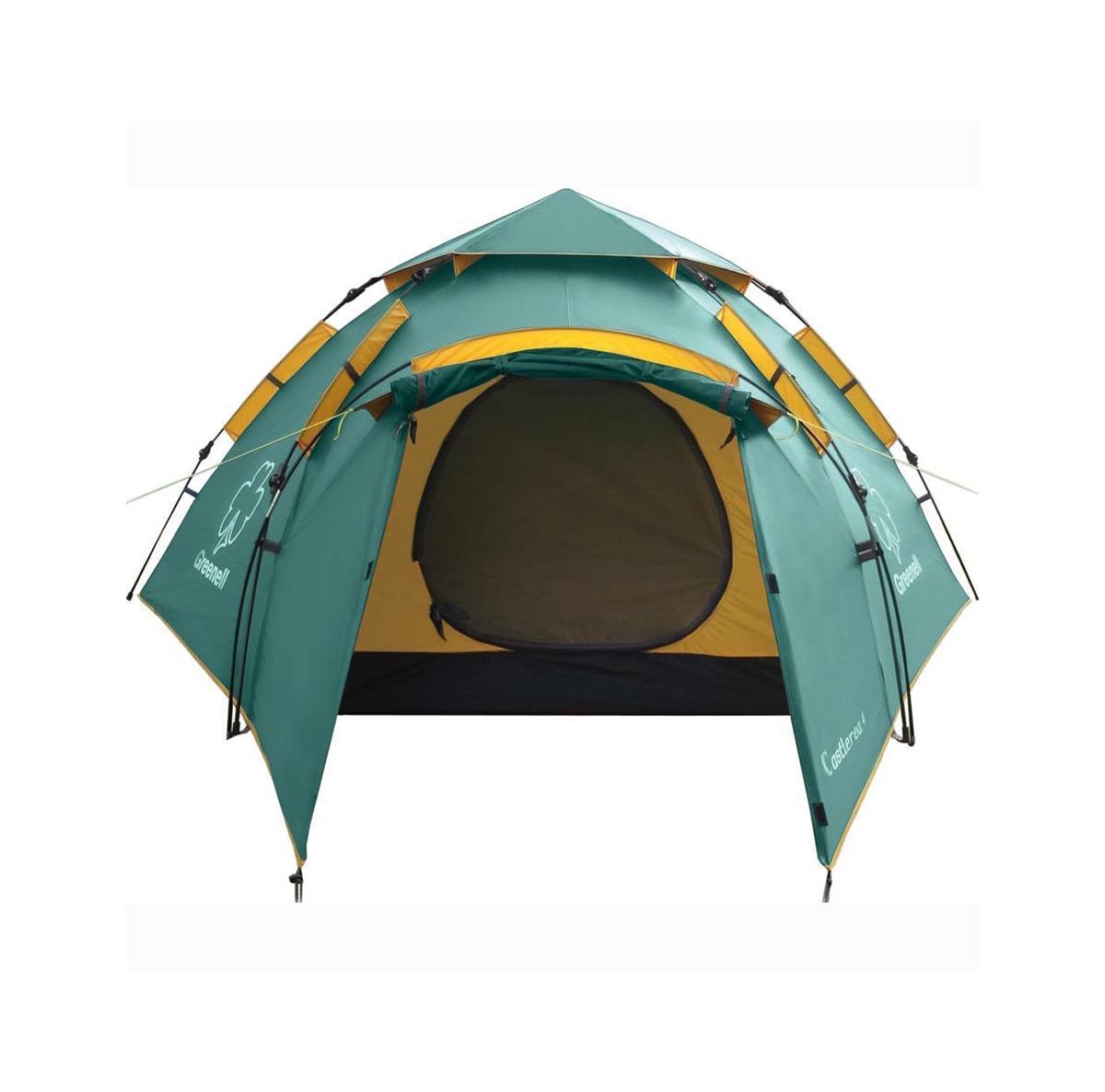 Палатка Greenell Каслрей 4 Green95283-303-00Максимально места на одного человека при минимальном весе палатки Кемпинговая палатка с полуавтоматическим каркасом. Установка за 1 минуту. Двухслойная палатка с дополнительной дугой для тамбура. Один тамбур и два входа. Внутренняя палатка и тент устанавливаются одновременно. Легко ставиться одним человеком. Минимум времени для установки и сборки. Q-образный вход продублирован сеткой. Улучшенная сквозная вентиляция. Проклеенные швы. Облегченная регулировка оттяжек со световозвращающей нитью. Цвет: Зеленый. Сезон: лето.