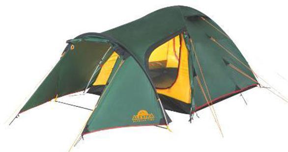 Палатка Alexika Tower 30-70-648Удобная трехместная палатка с тентом идеально подходит путешественникам, отправляющимся в многодневный поход или туристов, предпочитающих велосипедные маршруты. Вместительный тент позволяет расположить под ним габаритный багаж (велосипеды, рюкзаки) и другое необходимое в походе снаряжение. Палатка Tower 3 имеет удобную конструкцию и оснащена тремя входами, поэтому вы будете чувствовать себя в ней, как дома. Продуманная система входов дает возможность без затруднений попасть внутрь. Палатка рассчитана на весенне-летне-осенний сезон. Ее ветроустойчивость характеризуется как средняя. Тент и дно изготовлены из полиэстера, выделяющегося повышенной прочностью, устойчивостью к выгоранию, истиранию и органическим растворителям. Благодаря входящим в комплект алюминиевым дугам устанавливается это походное жилище достаточно быстро. Кроме того, палатку Tower 3 удобно хранить и легко перевозить. Ее габариты в зачехленном виде 18 х 52 см, вес 5,2 кг. Даже при пеших переходах вам не придется задумываться о трудностях транспортировки своего временного дома. Отправившись в путешествие с такой палаткой, вы будете защищены от дождя, пронизывающего ветра и жарких солнечных лучей. Вес: 5,2 кг. Количество мест: 3. Сезонность: весна-осень. Размер: 455 x 190 x 115 см. Размер в чехле: 18 х 52 см. Материал тента: Polyester 190T PU 4000 mm. Материал дна: Polyester 150D Oxford PU 6000 mm. Внутренняя палатка: есть. Материал дуг: Alu 8.5 Alu 9.5. Ветроустойчивость: средняя. Количество входов: 3. Цвет: зеленый. Область применения: трекинг. Технологии:Пропитка, задерживающая распространение огня. Швы герметизированы термоусадочной лентой. Узлы палатки, испытывающие высокие нагрузки, усилены более прочной тканью. Край тента обшит прочной стропой. Молнии на внешнем тенте фиксируются алюминиевым крючком. Внутренняя палатка оснащена противомоскитной сеткой, шестью карманами, кольцом для фонаря и полочкой для мелких предметов. Эффективная система вентиляции состоит из дву