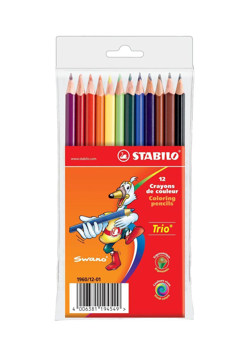 Карандаши цветные Stabilo Trio, 12 цветов72523WDСерия цветных карандашей STABILO Trio. Трехгранная форма карандаша предотвращает усталость детской руки при рисовании и позволяет привить ребенку навык правильно держать пишущий инструмент. Карандаши имеют широкую гамму цветов, которые отлично смешиваются и позволяют создавать огромное количество оттенков. Насыщенные цвета имеют высокую светостойкость. В состав грифелей входит пчелиный воск, благодаря чему грифели легко рисуют на бумаге, не царапая ее и не крошась, и обладают повышенной устойчивостью к нагрузкам. Карандаши не ломаются при рисовании и затачивании. Характеристики:Материал:дерево. Диаметр карандаша:0,7 см. Диаметр грифеля:2,5 мм. Длина карандаша:17,5 см. Толщина письма:0,1 см. Размер упаковки:10,5 см х 17,5 см х 1 см. Изготовитель:Германия.