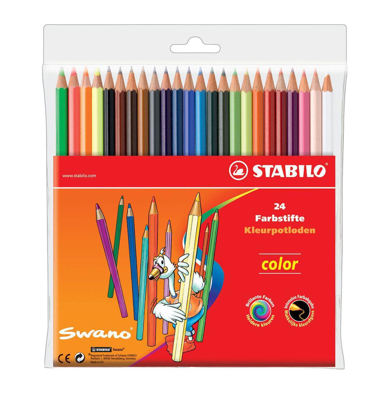 Карандаши цветные Stabilo Color, 24 цвета1224-77-01Цветные карандаши STABILO color шестигранной формы. Широкая гамма цветов, которые отлично смешиваются и позволяют создавать огромное количество оттенков. Насыщенные цвета имеют высокую светостойкость. Мягкий грифель легко рисует на бумаге, не царапая ее и не крошась. Карандаши не ломаются при рисовании и затачивании. В наборе 20 базовых цветов и 4 флуоресцентных цвета. Характеристики: Материал: дерево. Диаметр карандаша: 0,7 см. Диаметр грифеля: 2,5 мм. Длина карандаша: 17,5 см. Размер упаковки: 18 см х 17,5 см х 1 см. Изготовитель: Германия.