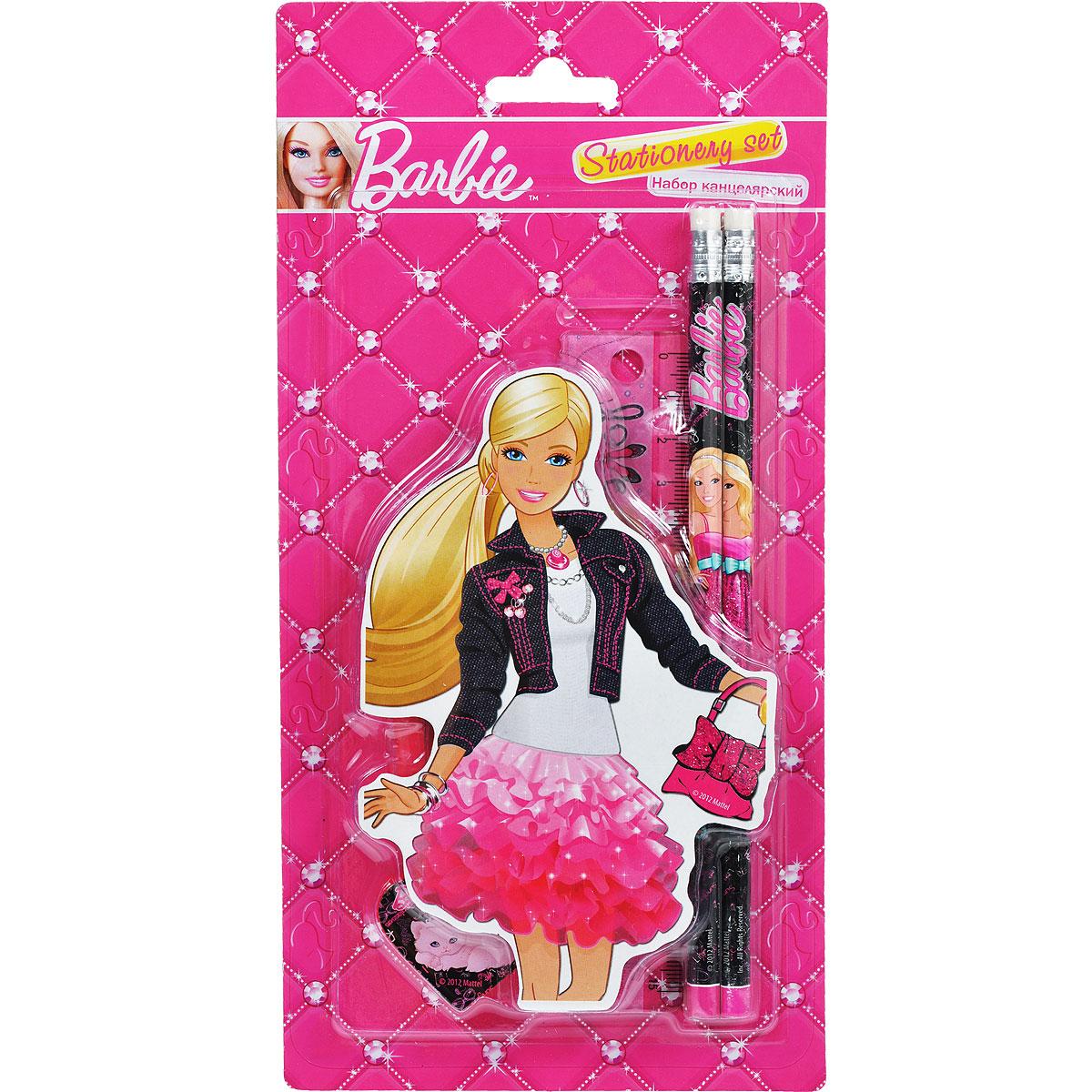 Канцелярский набор Barbie, 5 предметовBRAB-US1-75621-BLКанцелярский набор Barbie станет незаменимым атрибутом в учебе любой школьницы. Он включает в себя ластик в форме губной помады, 2 чернографитных карандаша с ластиком, точилку в форме сердца и линейку 15 см.