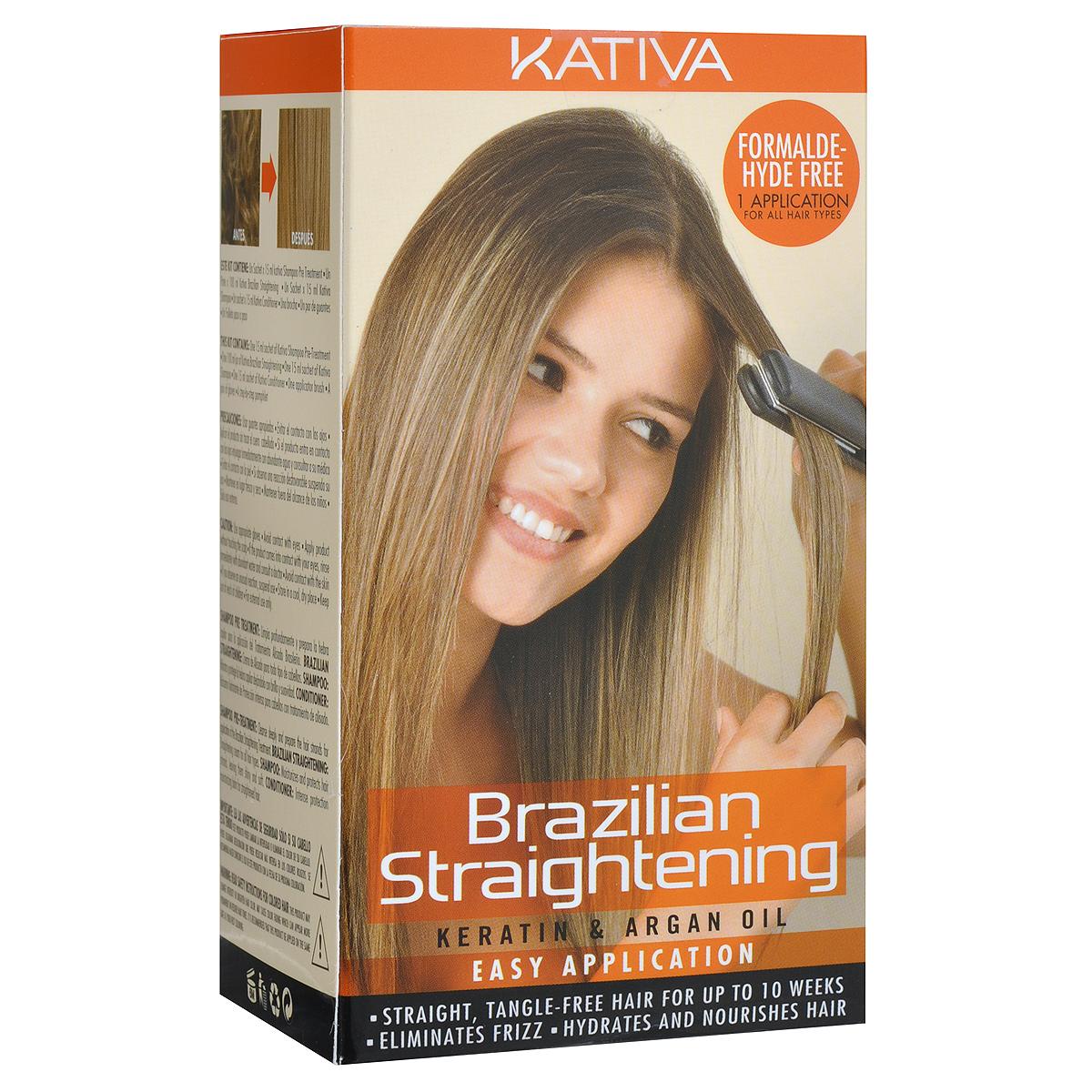 Kativa Набор для кератинового выпрямления и восстановления волос с маслом Арганы KERATINAБ33041_шампунь-барбарис и липа, скраб -черная смородинаНабор для бразильского выпрямления волос Kativa включает в себя шампунь для подготовки волос к кератиновому выпрямлению, средство для кератинового выпрямления и восстановления волос с маслом арганы, укрепляющий шампунь с кератином и укрепляющий бальзам-кондиционер с кератином для всех типов волос.Эксклюзивная формула способствует питанию, восстановлению, увлажнению волос, дарит им сияющий блеск, который не останется незамеченным. Система идеально выпрямляет волосы, убирая нежелательный объем и пушистость, свойственную вьющимся волосам. Не содержит формальдегид.Объем шампуня для подготовки волос: 15 мл.Объем средства для выпрямления волос: 100 мл.Объем укрепляющего шампуня: 15 мл.Объем укрепляющего бальзама-кондиционера: 15 мл.Специалисты Kativa рекомендуют использовать систему в день процедуры окрашивания волос.Товар сертифицирован.