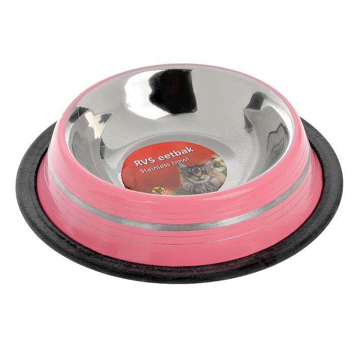Миска для кошек I.P.T.S., стальная, цвет: розовый, 180 мл0120710Удобная и красивая миска для кошеки собак с нескользящей поверхностью дна. Можно использовать для воды и корма. Миска устойчива и не переворачивается. Высококачественная полировка, устойчива к деформации. Объем миски 180 мл.