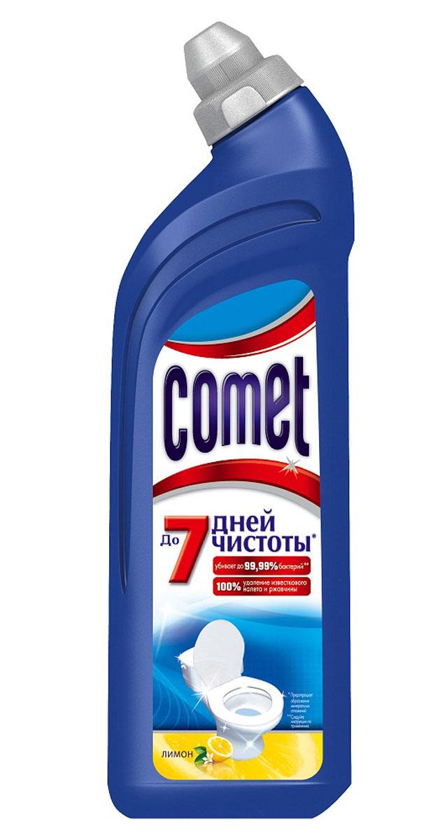 Чистящее средство для туалета Comet, лимон, 750 мл391602Чистящее средство для туалета Comet сохраняет чистоту до 7 дней, благодаря защитному слою. Средство отлично чистит и удаляет известковый налет и ржавчину, а также дезинфицирует поверхность. Обладает приятным ароматом сосны и цитрусов.