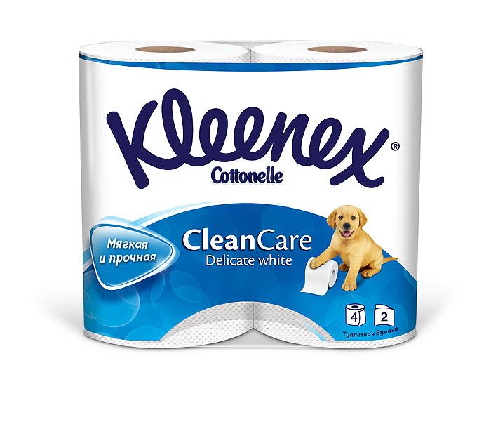 Туалетная бумага Kleenex Delicate White, двухслойная, цвет: белый, 4 рулона26083090Двухслойная туалетная бумага Kleenex Delicate White изготовлена из целлюлозы высшего качества. Листы белого цвета имеют рисунок с тиснением. Мягкая, нежная, но в тоже время прочная, бумага не расслаивается и отрывается строго по линии перфорации.
