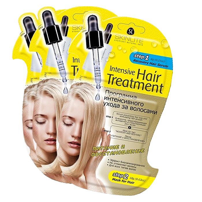 Skinlite Набор: Программа интенсивного ухода за волосами Питание и восстановление, 3 штБ33041_шампунь-барбарис и липа, скраб -черная смородинаПрограмма интенсивного ухода за волосами Питание и восстановление - это инновационная 2-х этапная программа, которая специально разработана для профессионального ухода за волосами в домашних условиях. Сочетает в себе интенсивное воздействие активных ингредиентов на кожу головы и волосы от корней до самых кончиков.Сыворотка, предотвращающая выпадение и стимулирующая рост волос (этап 1). Специально разработана для ухода за тонкими, ослабленными волосами, склонными к выпадению.Благодаря уникальной формуле, сыворотка стимулирует метаболические процессы, улучшает микроциркуляцию крови, пробуждает фолликулы, находящиеся в телагеновой спячке, качественно увеличивает количество растущих волос. Ускоряет рост, способствует оживлению, укреплению и регенерации волос.Сыворотка не содержит синтетических и гормональных добавок, подходит для всех типов волос.Маска Питание и восстановление (этап 2). Создана специально для ухода за истощенными, сухими волосами, подвергшимися окраске, химической завивке или агрессивному воздействию солнечных лучей. Восстанавливает внутреннюю поврежденную структуру волос, наполняет их здоровьем и блеском. Уникальная формула маски содержит эффективные питательные и увлажняющие компоненты.Масло оливы питает, защищает и предотвращает «пушение» волос. Масло жожоба в сочетании с витаминами наполняют волосы жизненной силой и энергией, прекрасно сохраняет влагу, препятствуя ломкости и сухости волос. Маска способствует интенсивному восстановлению структуры волос, смягчает и возвращает им роскошный блеск. Волосы обретают силу, блеск и здоровый роскошный вид!Способ применения: 1. Откройте упаковку с сывороткой (этап 1) и нанесите ее равномерно только на кожу головы. 2. Массажными движениями втирайте сыворотку в корни волос 2-3 минуты, для более интенсивного массажа можно использовать массажную щетку. 3. Откройте 2-ую часть
