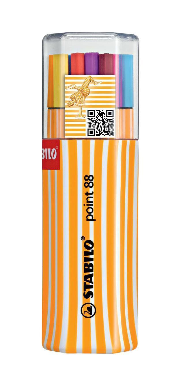 Набор капиллярных ручек Stabilo Point 88, в двойном пластиковом футляре, 20 шт8820-01Капиллярная ручка идеально подходит для особо легкого и мягкого письма, рисования и черчения. Металлическое обжатие наконечника дает возможность работать с линейками и трафаретами. Высокое качество износостойкого пишущего наконечника и большой запас чернил значительно увеличивают срок службы ручки. Ручка долгое время сохраняет работоспособность без колпачка. Чернила на водной основе. Цвет колпачка соответствует цвету чернил. Толщина линии 0,4 мм. Набор из 20 цветов в пластиковом футляре, состоящем из двух частей. Характеристики: Материал: пластик. Диаметр ручки: 0,7 см. Толщина линии: 0,4 см. Длина ручки: 17,5 см. Размер упаковки: 6,5 см х 5,5 см х 18 см. Изготовитель: Германия.