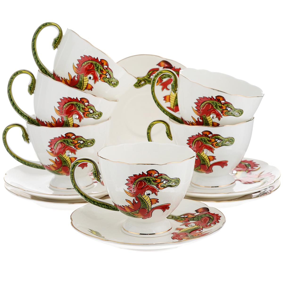 Набор чайный Briswild Яркий дракон, 12 предметов595-069Чайный набор Briswild Яркий дракон, выполненный из высококачественного фарфора, состоит из 6 чашек и 6 блюдец. Изделия оформлены золотой каемкой и изображением дракона со стразами. Элегантный дизайн и совершенные формы предметов набора привлекут к себе внимание и украсят интерьер вашей кухни. Чайный набор Briswild Яркий дракон идеально подойдет для сервировки стола и станет отличным подарком к любому празднику. Чайный набор упакован в подарочную коробку. Не использовать в микроволновой печи. Не применять абразивные чистящие вещества.
