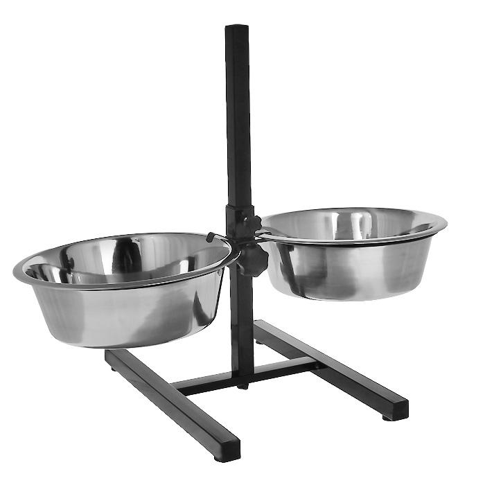 Подставка для собак I.P.T.S., с двумя мисками, регулируемая, 2 х 4,7 л0120710Подставка для собак I.P.T.S. является регулируемой, поэтому вы можете настроить высоту миски на оптимально подходящий уровень для собаки. Это позволяет стоять вашей собаке в более расслабленной позе, что способствует улучшению пищеварения и уменьшению напряжения на шею и суставы. Миски выполнены из нержавеющей стали. Миски гигиеничны и легко моются. Устойчивая подставка на нескользящем основании.Максимальная высота мисок: 54 см.Диаметр миски: 28 см.