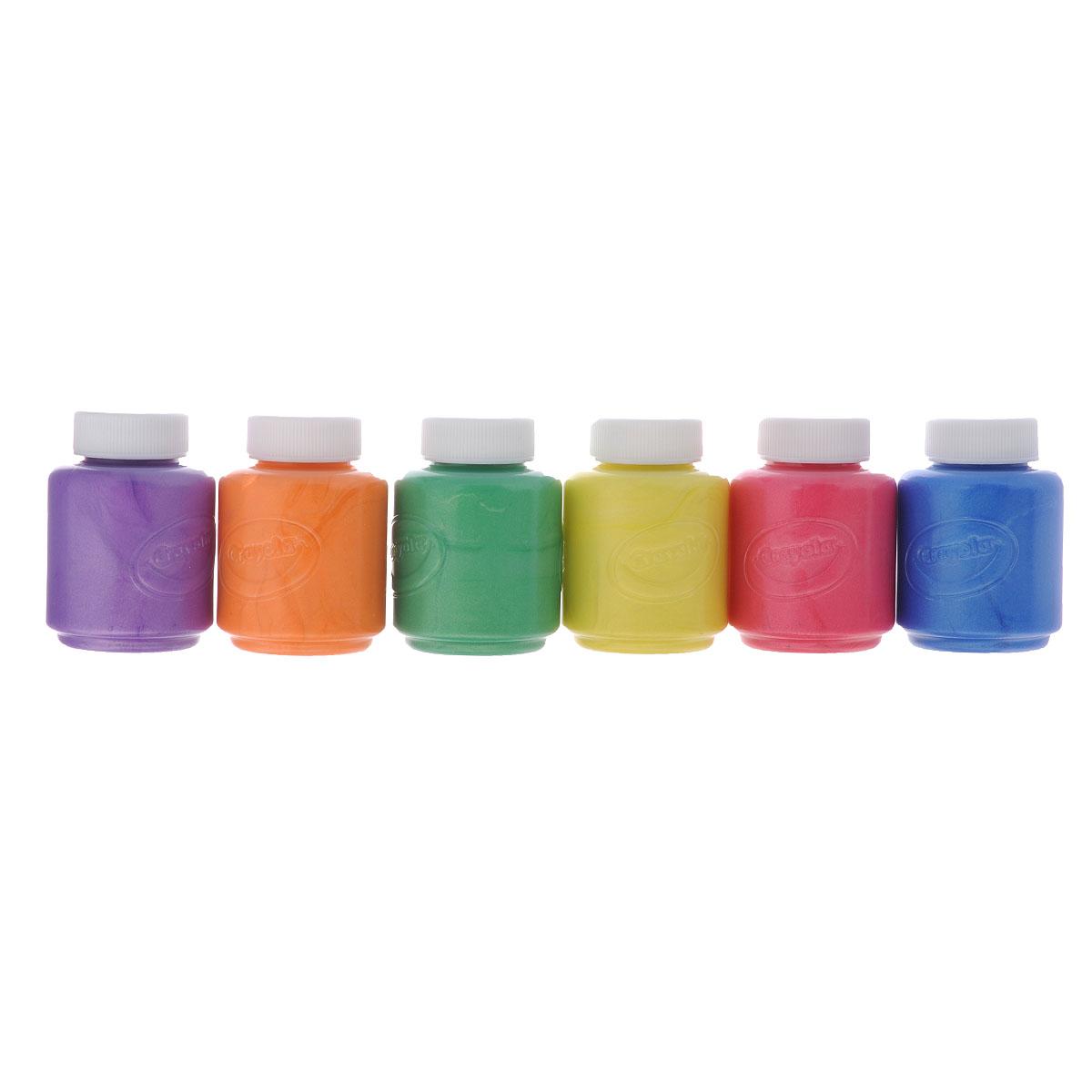 Краски пальчиковые Crayola, с металлическим эффектом, 6 цветов54-5000Пальчиковые краски Crayola порадуют маленького художника и помогут ему раскрыть свой талант. Ими можно рисовать не только на бумаге, но на картоне и стекле без каких-либо дополнительных приспособлений. В наборе краски с металлическим эффектом в баночках по 59 мл 6 цветов: фиолетового, желтого, зеленого, розового, синего, оранжевого. Краски Crayola с металлическим эффектом помогут вам декорировать любые плакаты, постеры, сделать оригинальными картинки в раскрасках, добавить изюминку в ваши рисунки. Краска каждого цвета хранится в отдельной пластиковой баночке с плотно закрывающейся крышкой. Эти нетоксичные краски полностью безопасны для детского здоровья. Они легко смываются не только с кожи, но и с одежды - когда ваш юный художник закончит свой творческий процесс, вам будет легко привести в порядок не только его самого, но и его одежду и рабочее место, куда могли попасть капли краски.