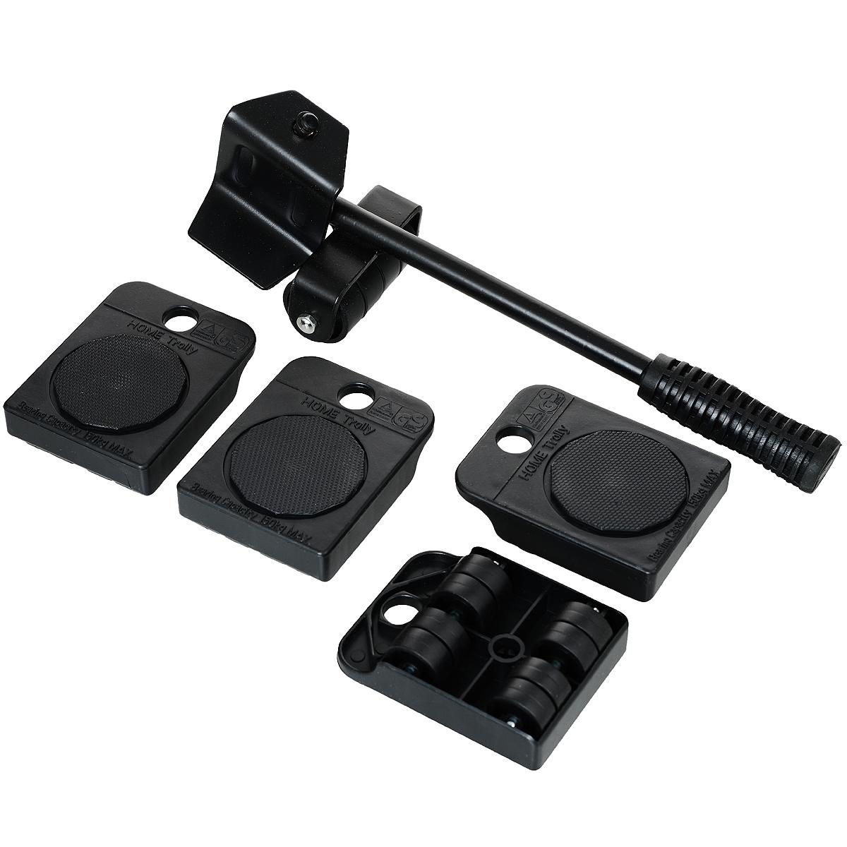 Набор для перемещения мебели Bradex Транспортер, цвет: черный, 5 предметовTD 0089Набор для перемещения мебели Bradex Транспортер, изготовленный из металла и ПВХ, предназначен для самостоятельной перестановки мебели. Вам понадобится лишь приподнять мебель с помощью рычага и подложить под каждый угол транспортную платформу с вращающимися колесиками. После установки мебели на платформы ее можно передвигать в любом направлении. Благодаря Транспортеру, вы защитите мебель, пол и стены от повреждений, сэкономите время и сбережете здоровье. Мебельный транспортер подходит для линолеума, ковролина, паркета, ламината. Уникальная конструкция подъемного рычага и платформ из прочной закаленной стали позволяет поднимать даже тяжелую мебель со всем содержимым. В комплект входит: - 4 транспортировочные платформы каждая на 8 колесиках из сверхпрочного полиамида с вращающейся площадкой. Максимальная нагрузка на каждую платформу 100 кг. - Подъемный рычаг из качественной стали с прорезиненной ручкой. - Инструкция.