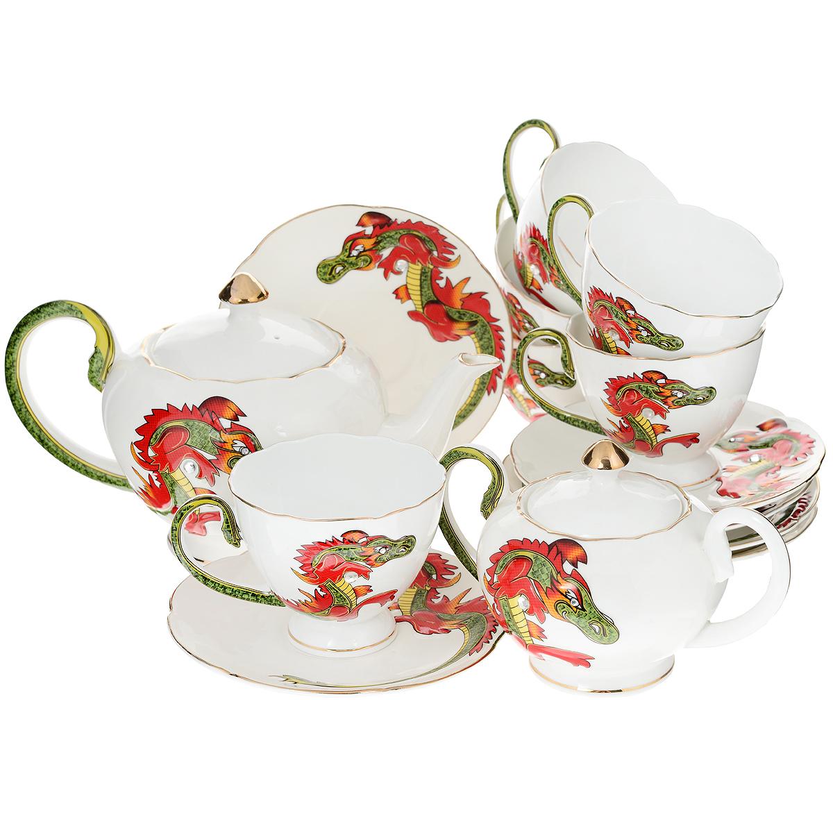 Набор чайный Briswild Яркий дракон, 16 предметов595-071Набор чайный Briswild Яркий дракон, выполненный из высококачественного фарфора белого цвета, состоит из шести чашек, шести блюдец, заварочного чайника с крышкой и сахарницы с крышкой. Предметы набора декорированы рельефным изображением дракона в восточном стиле. Красочные рисунки дополняют стразы. Восточный дизайн придется по вкусу ценителям чайных церемоний, и тем, кто предпочитает утонченность и изысканность. Он настроит на позитивный лад и подарит хорошее настроение с самого утра. Чайный набор - идеальный и необходимый подарок для вашего дома и для ваших друзей в праздники, юбилеи и торжества! Он также станет отличным корпоративным подарком и украшением любой кухни. Набор упакован в подарочную коробку из плотного золотистого картона. Внутренняя часть коробки задрапирована коричневой атласной тканью, и каждый предмет надежно крепится в определенном положении благодаря особым выемкам в коробке.