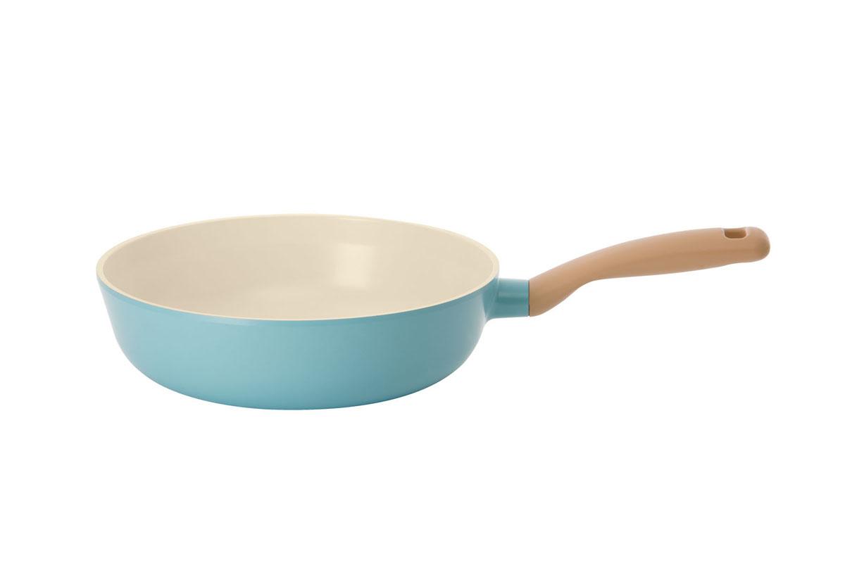 Сотейник Frybest Round, с керамическим покрытием, цвет: голубой. Диаметр 26 смROUND W26-B