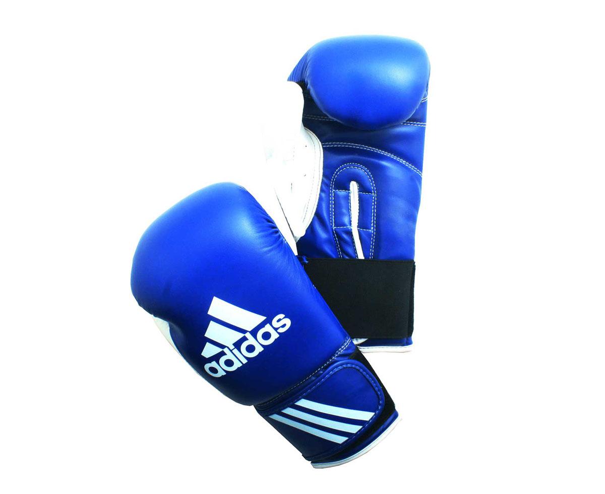 Перчатки боксерские Adidas Response, цвет: сине-белый. adiBT01. Вес 6 унцийadiBT01Тренировочные боксерские перчатки Adidas Response. Сделаны из прочной искусственной кожи (PU3G), удобно сидят на руке. Фиксация на липучке. Внутренний наполнитель из формованной под давлением пены с интегрированной внутренней вставкой из геля, выполненной по технологии I-Protech.