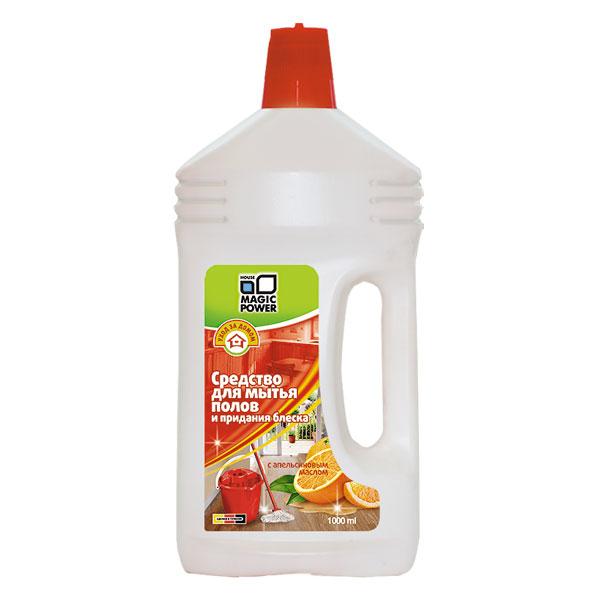 Средство для мытья полов и придания блеска Magic Power, с апельсиновым маслом, 1 лMP-703Средство Magic Power предназначено для мытья полов и придания блеска. Идеально моет и ухаживает за ламинатом, паркетом, линолеумом, искусственным и натуральным камнем, плиткой и деревом. Легко удаляет грязь и пятна, не оставляя разводов. Покрывает поверхность пола защитной пленкой, оставляет приятный и нежный аромат апельсина. Не содержит мастика и полимеров. Подходит для ручной мойки и использования в моющих машинах. Обладает пеногасящим эффектом.