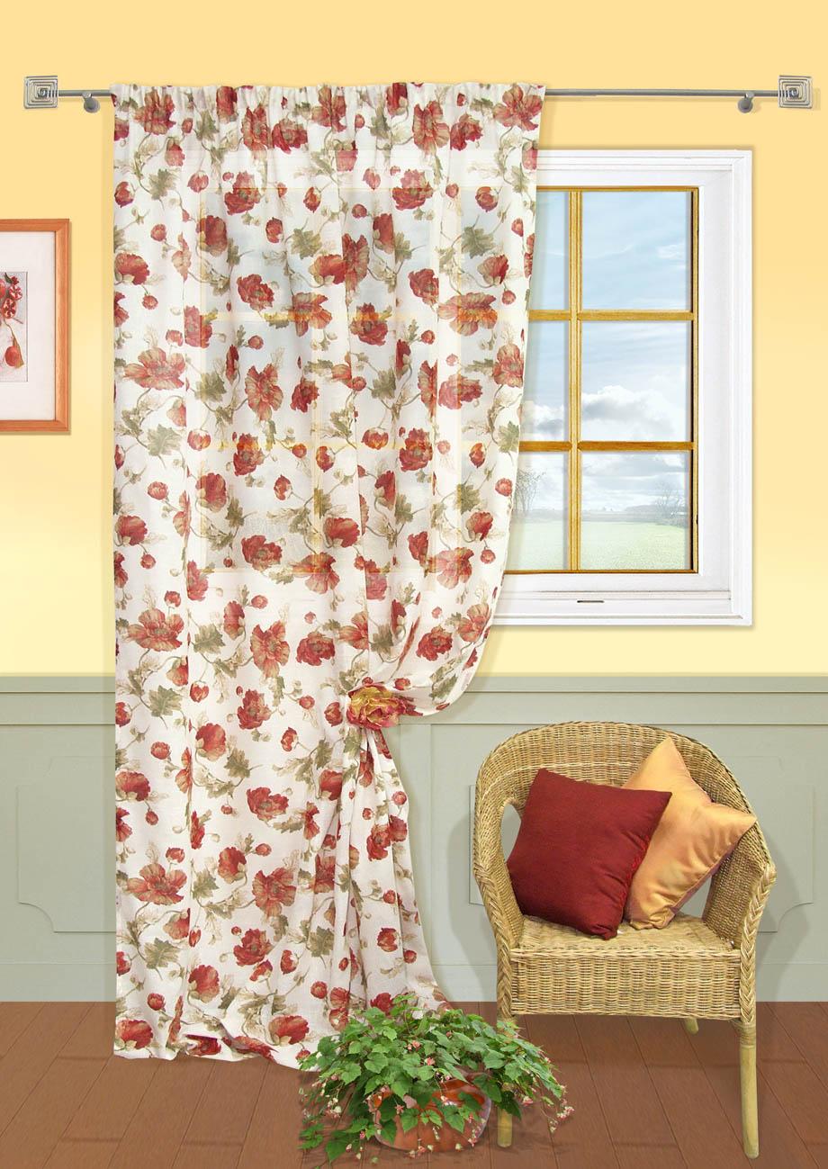 Штора Kauffort Матера, на ленте, цвет: бежевый, красный, высота 275 см. UN111114115UN111114115Роскошная штора Kauffort Матера выполнена из полиэстера и хлопка. Материал является мягким на ощупь. Оригинальная текстура ткани, приятная приглушенная гамма и цветочный принт привлекут к себе внимание и органично впишутся в интерьер помещения. Эта штора будет долгое время радовать вас и вашу семью! Штора крепится на карниз при помощи ленты, которая поможет красиво и равномерно задрапировать верх.