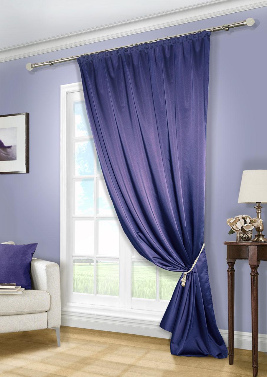 Штора Kauffort Линд, на ленте, цвет: синий, высота 280 см. UN111888645UN111888645Роскошная штора Kauffort Линд выполнена из приятного на ощупь полиэстера. Материал плотный, с мягким блеском, шелковистый. Полотно шторы надежно защищает комнату от солнечного света днем и от уличного освещения вечером. Оригинальная текстура ткани и яркая цветовая гамма привлекут к себе внимание и органично впишутся в интерьер помещения. Эта штора будет долгое время радовать вас и вашу семью! Штора крепится на карниз при помощи ленты, которая поможет красиво и равномерно задрапировать верх.