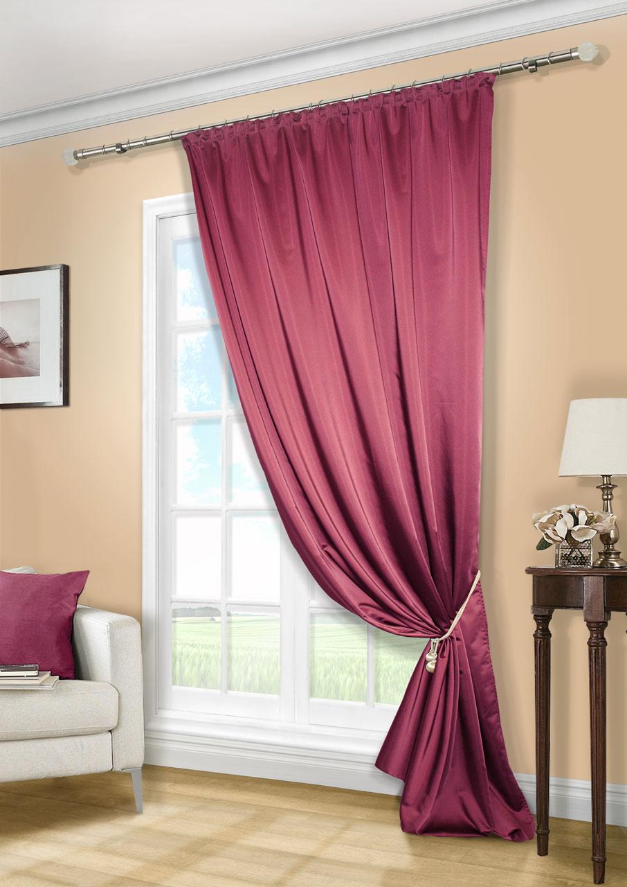 Штора Kauffort Линд, на ленте, цвет: бордовый, высота 280 см. UN11188867510503Роскошная штора Kauffort Линд выполнена из приятного на ощупь полиэстера. Материал плотный, с мягким блеском, шелковистый. Полотно шторы надежно защищает комнату от солнечного света днем и от уличного освещения вечером.Оригинальная текстура ткани и яркая цветовая гамма привлекут к себе внимание и органично впишутся в интерьер помещения. Эта штора будет долгое время радовать вас и вашу семью!Штора крепится на карниз при помощи ленты, которая поможет красиво и равномерно задрапировать верх.