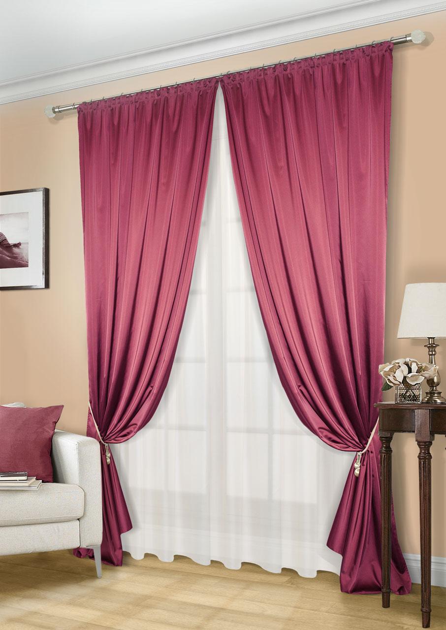Комплект штор Kauffort Линд-C, на ленте, цвет: бордовый, экрю, высота 260 см. UN123300675UN123300675Роскошный комплект штор Kauffort Линд-C, выполненный из полиэстера, великолепно украсит любое окно. Комплект состоит из 2 штор и тюля. Шторы выполнены из плотной ткани с шелковистой текстурой и приятным блеском. Тюль изготовлен из легкой и воздушной вуали. Тонкое плетение, оригинальный дизайн и нежная цветовая гамма привлекут к себе внимание и органично впишутся в интерьер комнаты. Все предметы комплекта оснащены шторной лентой для красивой сборки.