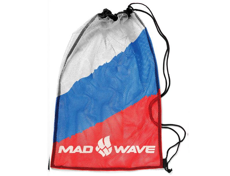Мешок-сетка для инвентаря Mad Wave, цвет: белый, синий, красный, 65 см х 50 смone116Вентилируемый мешок из сетчатой ткани Mad Wave предназначен для хранения мокрого инвентаря и спортивной одежды. Мешок фиксируется плотным шнуром, который одновременно служит лямками для переноски на спине. Материал не впитывает воду и быстро сохнет.