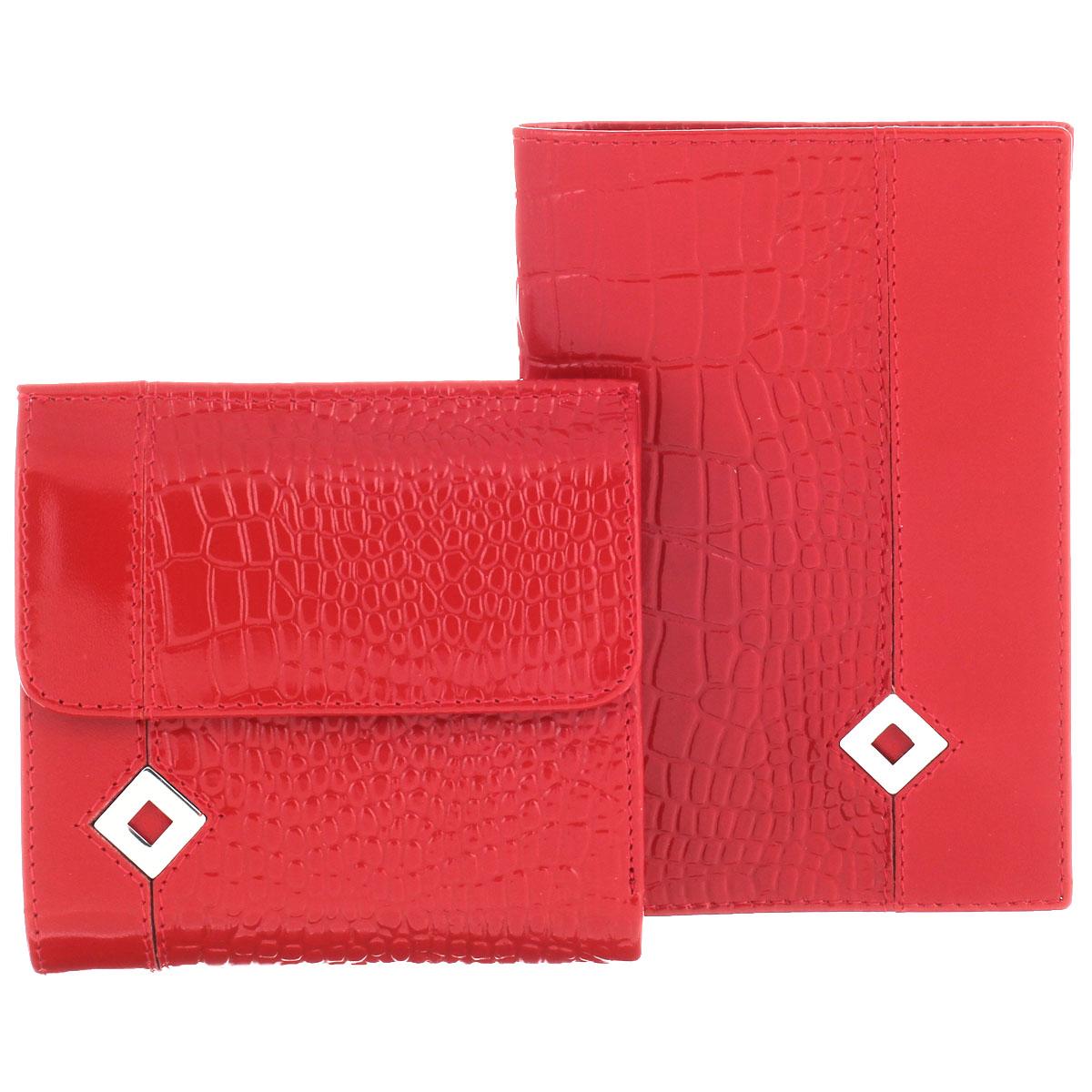Подарочный набор Dimanche Papillon Rouge: обложка для паспорта, кошелек, цвет: красный. 101/05101/05Изысканный набор Dimanche Papillon Rouge состоит из обложки для паспорта и кошелька. Обе модели изготовлены из высококачественной натуральной кожи и декорированы тиснением под кожу рептилии, а также металлической пластиной в форме ромба на лицевой стороне. Обложка для паспорта с внутренней стороны отделана атласным текстилем. Внутри - два прозрачных боковых кармана из пластика, которые обеспечат надежную фиксацию вашего документа. Кошелек с обеих сторон закрывается хлястиками на кнопки. Внутри - два отделения для купюр, врезной карман на молнии, три боковых кармана (один - с окошком из прозрачного пластика) и три прорези (одна предназначена для SIM-карты). Лицевая сторона изделия дополнена отсеком для мелочи. Набор упакован в стильные фирменные коробки. Роскошный набор Dimanche Papillon Rouge  подчеркнет вашу индивидуальность и безупречный вкус, а также станет замечательным подарком человеку, ценящему качественные и практичные вещи.
