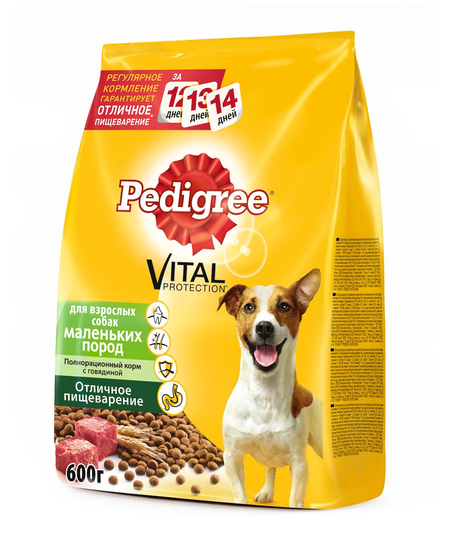 Корм сухой Pedigree для взрослых собак маленьких пород, с говядиной, 600 г37962Сухой корм Pedigree для взрослых собак весом меньше 15 кг - это полнорационный корм с говядиной, который создан с учетом потребностей взрослых собак маленьких и карликовых пород. Он состоит из качественных и натуральных ингредиентов: мяса, овощей, злаков. Корм способствует здоровому росту и гармоничному развитию вашего питомца. Он создан с учетом особенностей пищеварения собаки, легко усваивается и обеспечивает правильную работу желудочно-кишечного тракта. Состав: кукуруза, рис, пшеница, куриная мука, мясная мука (в том числе говядина минимум 4%), свекольный жом, подсолнечное масло, жир животный, пивные дрожжи, витамины и минералы. Пищевая ценность (100 г): белки 21 г, жиры 14 г, зола 7 г, клетчатка 4 г, влажность не более 10 г, кальций 1,3 г, фосфор 0,8 г, натрий 0,3 г, калий 0,58 г, магний 0,1 г, цинк 20 г, медь 1,5 г, витамин А 1500 МЕ, витамин Е 20 мг, витамин D3 120 МЕ, витамины B1, B2, B4, B5, B12, ниацин, омега-6, омега-3, полиненасыщенные жирные...