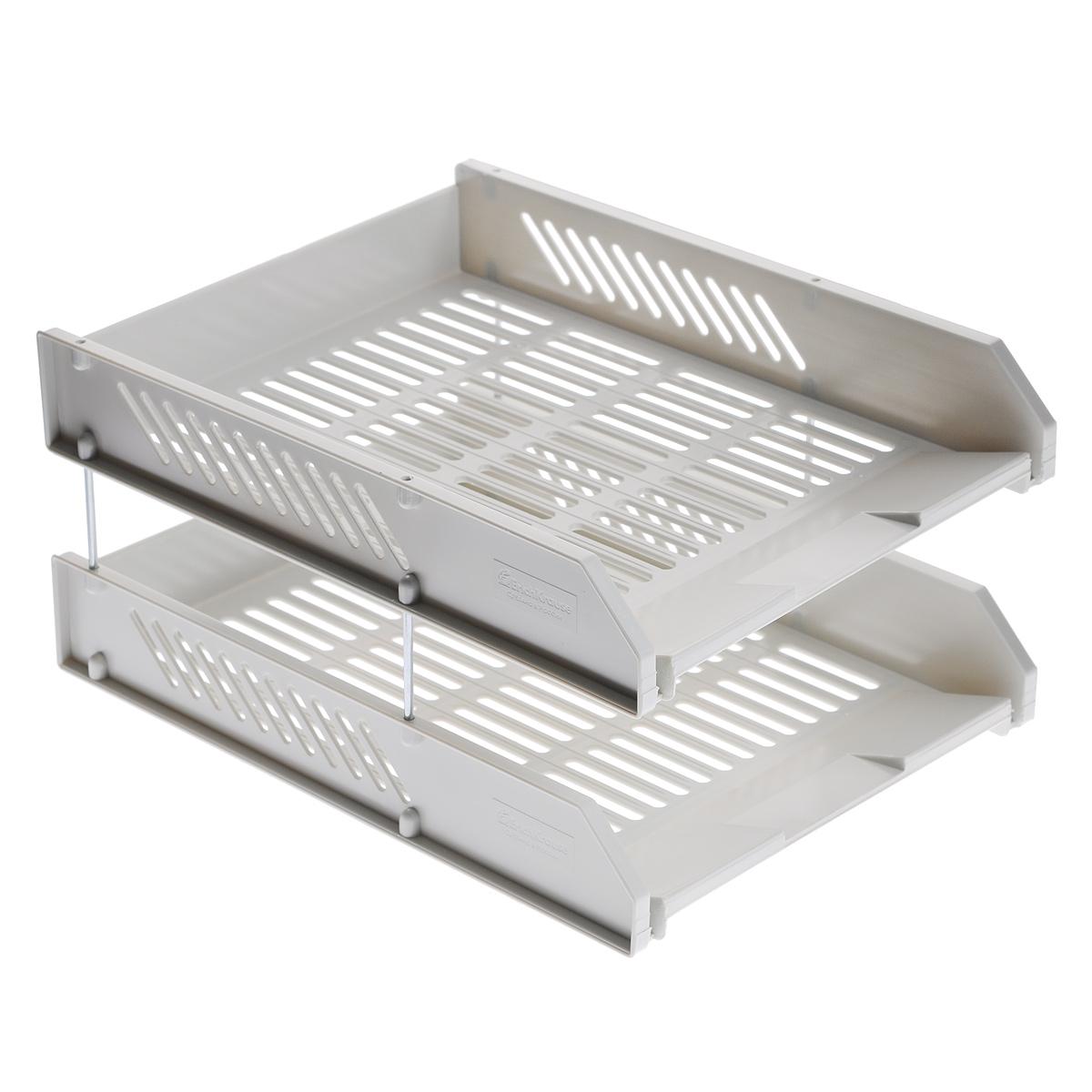 """Набор горизонтальных лотков для бумаги """"Erich Krause"""", цвет: серый, 2 шт 4613"""