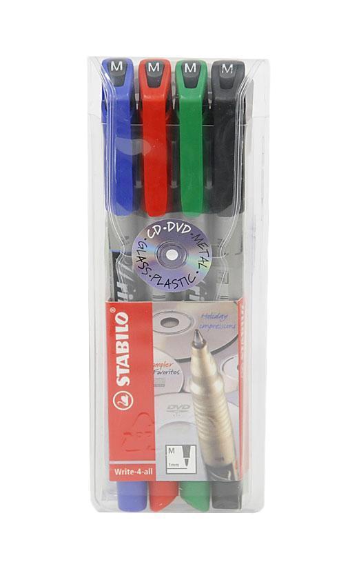 Набор маркерных ручек Stabilo, 4 цвета. 146/472523WDМаркерные ручки с перманентными/водостойкими чернилами. Набор из четырех цветов: красный, зеленый, черный, синий. Пишут практически на всех видах поверхностей, включая стекло, металл, алюминиевую фольгу и т.д. Идеально подходят для нанесения надписей на CD/DVD дисках. Надписи мгновенно высыхают, не стираются и не размазываются. Чернила на спиртовой основе имеют нейтральный запах, высокую свето- и морозоустойчивость. Пишущие наконечники проводят линию толщиной 1,0 мм. Характеристики: Длина ручки: 14,5 см. Размер упаковки:6 см х 15,5 см х 1,5 см.