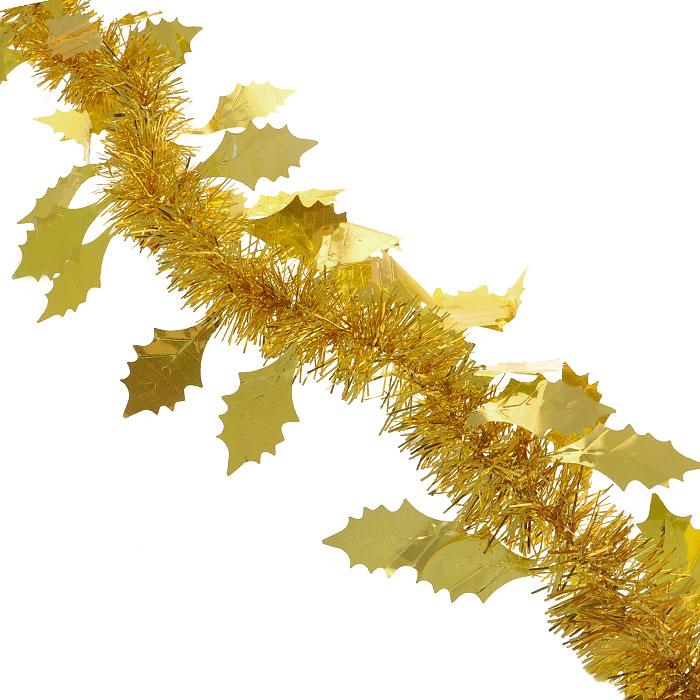 Мишура новогодняя Magic Time, с листьями, диаметр 9 см, длина 200 см, цвет: золотистый. 2692526925Новогодняя мишура Magic Time, выполненная из ПЭТ (Полиэтилентерефталат), поможет вам украсить свой дом к предстоящим праздникам. Изделие выполнено в виде скрученной косички. Новогодняя елка с таким украшением станет еще наряднее. Мишура армирована, то есть имеет проволоку внутри и способна сохранять форму. Новогодней мишурой можно украсить все, что угодно - елку, квартиру, дачу, офис - как внутри, так и снаружи. Можно сложить новогодние поздравления, буквы и цифры, мишурой можно украсить и дополнить гирлянды, можно выделить дверные колонны, оплести дверные проемы. Коллекция декоративных украшений из серии Magic Time принесет в ваш дом ни с чем несравнимое ощущение волшебства! Создайте в своем доме атмосферу тепла, веселья и радости, украшая его всей семьей.