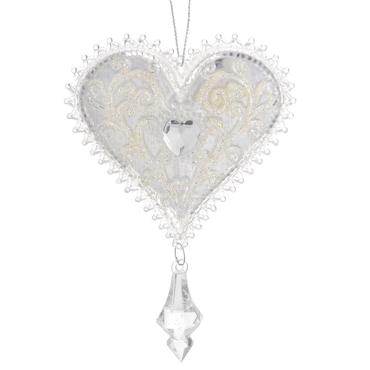 Новогоднее подвесное украшение Сердце, цвет: белый. 3503035030Оригинальное новогоднее украшение из пластика прекрасно подойдет для праздничного декора дома и новогодней ели. Изделие крепится на елку с помощью металлического зажима.
